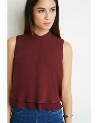 Forever 21 | Purple Layered Crepe Mock Neck Top | Lyst