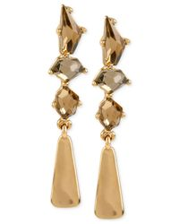 Robert Lee Morris | Metallic Bronze-tone Faceted Stone Linear Earrings | Lyst