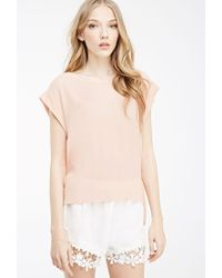 Forever 21 - Pink Embroidered Mesh-back Top - Lyst