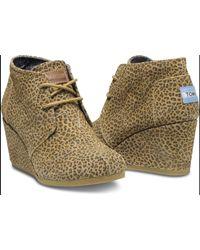 TOMS - Brown Desert Cheetah-print Wedge Booties - Lyst