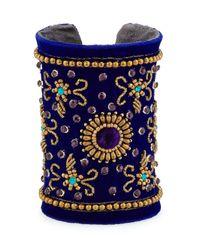 Chamak by Priya Kakkar | Blue Velvet Floral Beaded Cuff Bracelet | Lyst