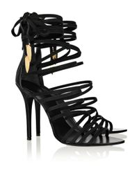 Giuseppe Zanotti Black Leather Wing Sandals