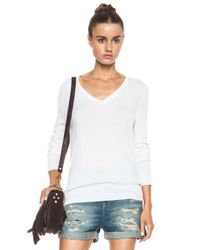 Equipment - White Cecile V Neck Cashmere Sweater - Lyst