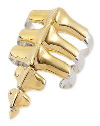 Noir Jewelry | Black Vertebrae Two-Tone Cuff Bracelet | Lyst