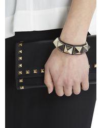 Valentino - Rockstud Black Leather Bracelet - Lyst
