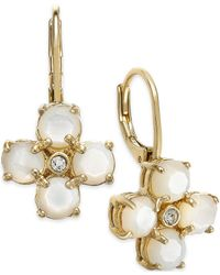 kate spade new york | Metallic 14k Gold-plated Mother-of-pearl And Crystal Leverback Earrings | Lyst