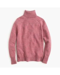 J.Crew | Pink Turtleneck Sweater With Notched Hem | Lyst