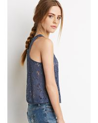 Forever 21 | Blue Crochet-paneled Lace Top | Lyst