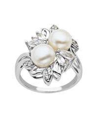 Lord & Taylor | Metallic Sterling Silver Pearl And White Topaz Ring | Lyst