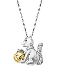 Lord & Taylor | Metallic Sterling Silver 14Kt. Yellow Gold And Black Diamond Cat Pendant Necklace | Lyst