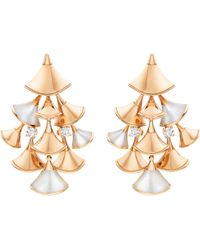BVLGARI - Natural Diva 18ct Pink-gold, Mother Of Pearl And Diamond Earrings - Lyst