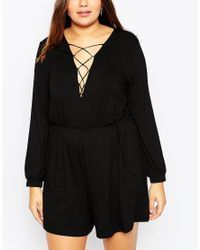 ASOS | Black Playsuit With Lace Up Front | Lyst