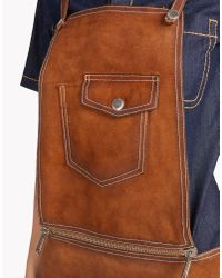 DSquared² | Brown Leather Dungaree | Lyst
