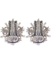 Oscar de la Renta | White Gold-plated Crystal Earrings | Lyst