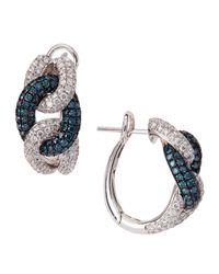 Roberto Coin - Diamond Blue Irradiated Diamond Link Earrings - Lyst