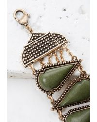 Forever 21 - Green Spade-shaped Faux Stone Bracelet - Lyst