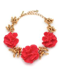 Oscar de la Renta | Red Coral Flower Necklace | Lyst