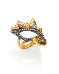 Alexis Bittar - Metallic Elements Phoenix Pyrite & Crystal Leaf Ring - Lyst