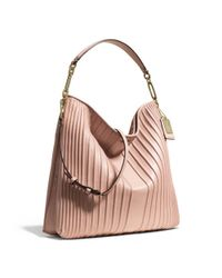 COACH - Pink Madison Hobo in Pintuck Leather - Lyst