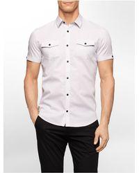 Calvin Klein | White Label Slim Fit Birdseye Dobby Short Sleeve Shirt for Men | Lyst