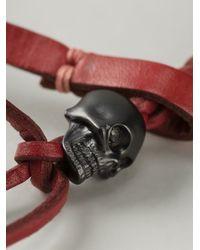 Alexander McQueen - Red Woven Skull Bracelet for Men - Lyst