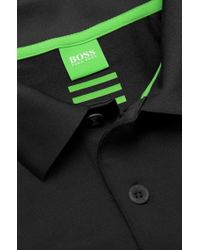 BOSS Green - Black 'Pavu' | Slim Fit, Stretch Polo Shirt With Polygiene Technology for Men - Lyst