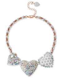 Betsey Johnson | Multicolor Two-Tone Three Heart Frontal Necklace | Lyst