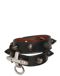 Givenchy | Black 2 Rows Obsedia Studded Leather With Horn | Lyst