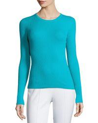 Michael Kors - Blue Long-sleeve Crewneck Cashmere Sweater - Lyst
