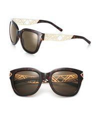 Tory Burch | Brown Chevron Arm 53mm Square Sunglasses | Lyst