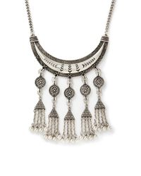 Forever 21 - Metallic Chained Tassel Statement Necklace - Lyst
