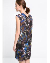 Mango - Black Floral Shift Dress - Lyst