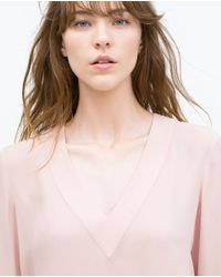 Zara   Pink Asymmetric Top   Lyst