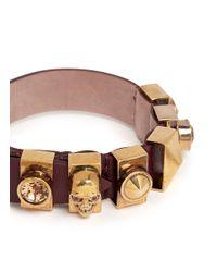 Alexander McQueen - Red Skull And Crystal Metal Loop Leather Bracelet - Lyst