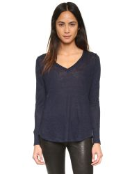 VINCE | Blue Linen V Neck Top | Lyst