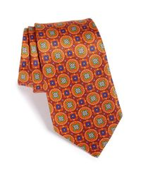 Ike Behar - Orange 'macclesfield Print' Silk Tie for Men - Lyst