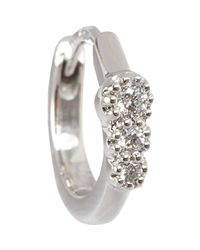 Stone | Metallic Diamond & White Gold Creole Mini Hoop Earring | Lyst