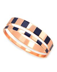 Tuleste | Metallic Enamel Step Bangles In Navy/rose | Lyst