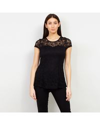 Izabel London - Black Short Sleeves Lace Top - Lyst