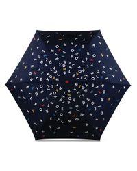 Radley - Blue Navy Printed 'to The Letter' Mini Telescopic Umbrella - Lyst