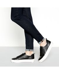 J By Jasper Conran - Black Leather Flatform Cleated Heel Trainer - Lyst