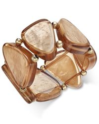 INC International Concepts - Brown Gold-tone Taupe Resin Shell Bracelet, Only At Macy's - Lyst
