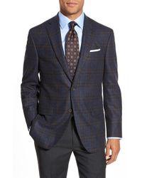 David Donahue - Blue 'connor' Classic Fit Plaid Wool & Cashmere Sport Coat for Men - Lyst