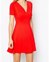 ASOS - Blue Skater Dress With Ruched Bust Detail - Lyst