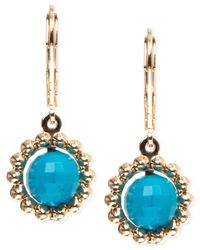 Anne Klein - Metallic Gold-tone Stone Drop Earrings - Lyst