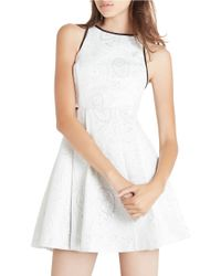 BCBGeneration | White Scroll Patterned Fit-and-flare Dress | Lyst