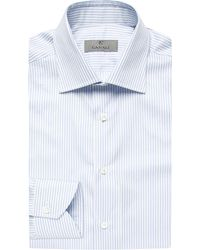 Canali - White Regular-fit Single Cuff Striped Cotton Shirt for Men - Lyst