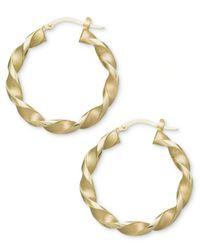 Macy's   Metallic 14k Gold Earrings, Small Twisted Hoop Earrings   Lyst