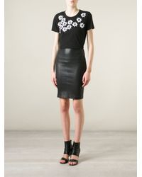 DKNY - Black Sequin Flower Short Sleeve T-Shirt - Lyst