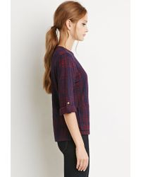Forever 21 | Blue Boxy Plaid Top | Lyst